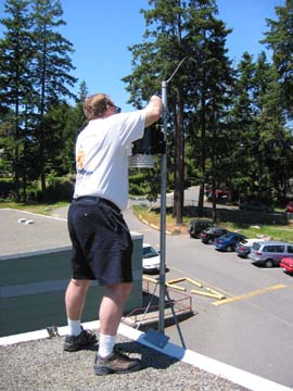 Photo of weather station installation on Frank Hobbs Elementary School