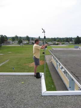 Photo of weather station installation on Lakehill Elementary School