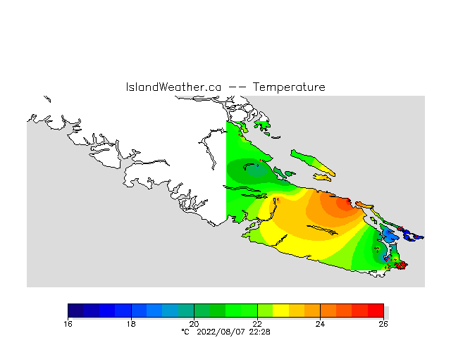 Current temperatures on Vancouver Island.